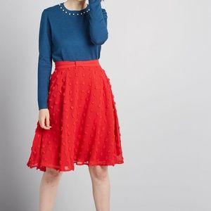 Modcloth Set on Texture A-Line Polka Dot Skirt S